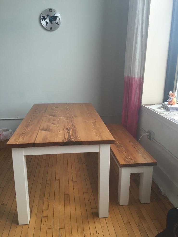 Handmade wood table and bench in Philadelphia loft