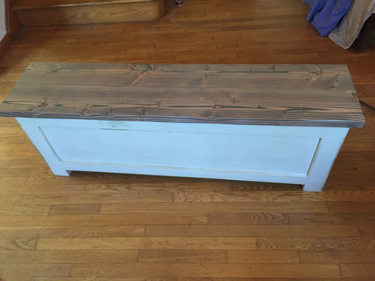 classic grey storage bench back