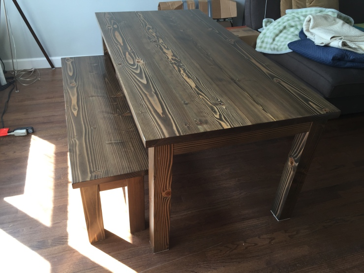 Farmhouse Dining Table and Bench with General Finishes Dark Walnut Stain