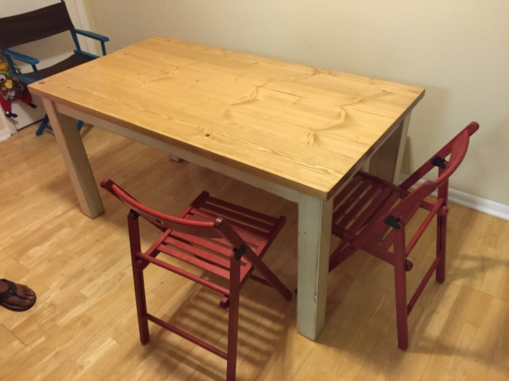 Kitchen table with distressed milk paint