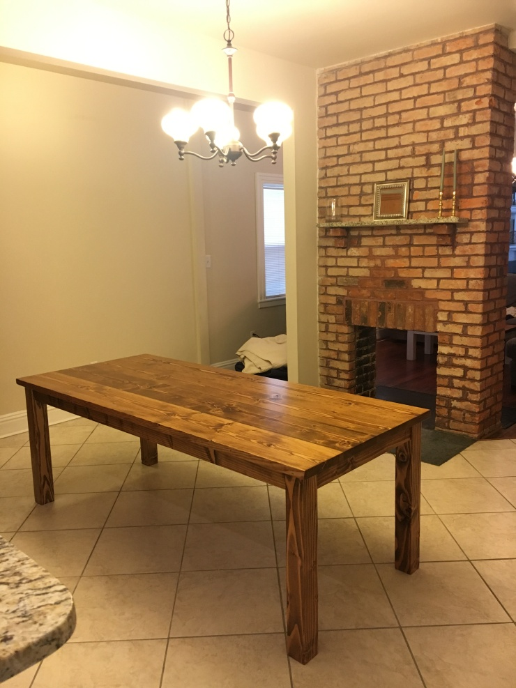 7' foot early american farmhouse table in a richmond kitchen
