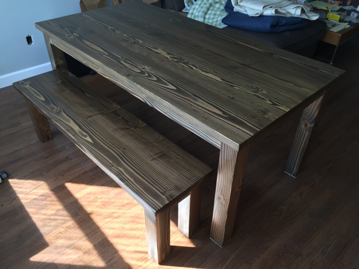 General Finishes Water Based Walnut Stain on Dining Table and Bench
