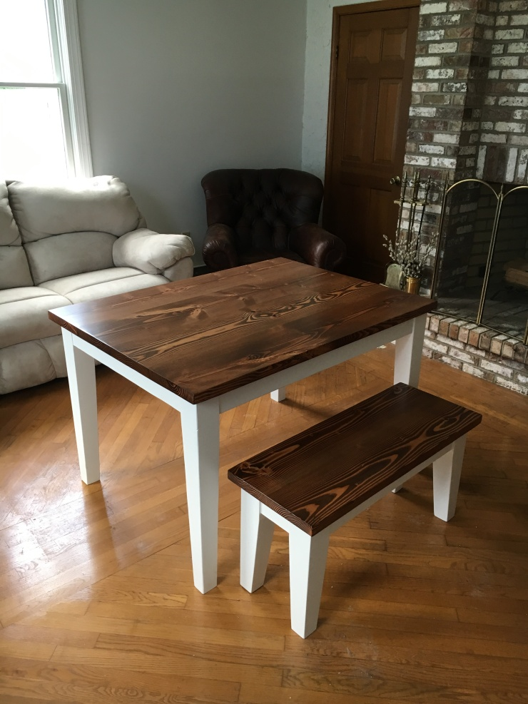 Small Kitchen table and bench with tapered legs