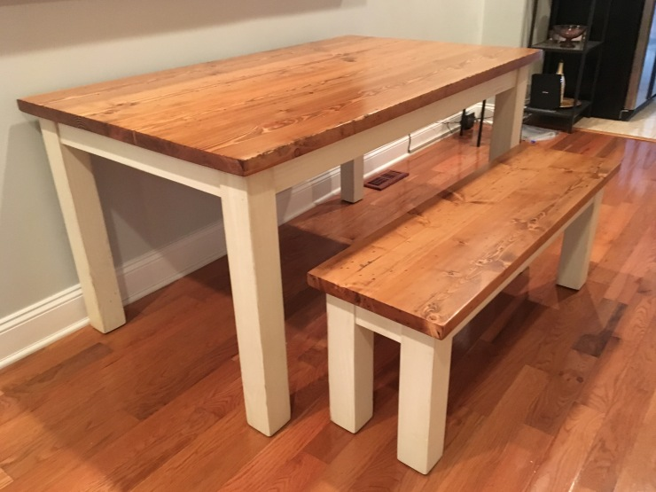5' Farmhouse Table and Bench White milk paint