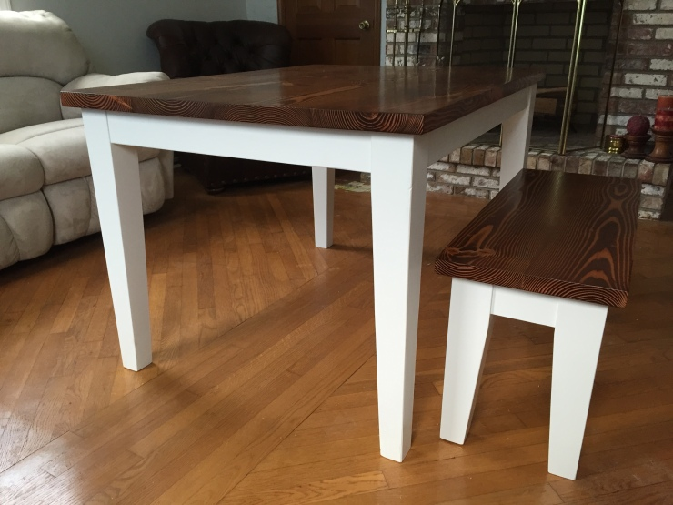 5' Kitchen Table and bench with tapered legs