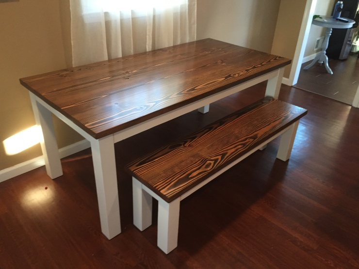 dark walnut farmhouse wood table with matching bench