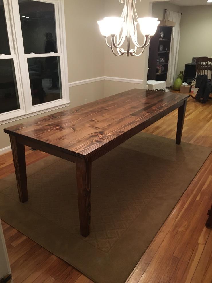 8' dark walnut farmhouse table with tapered legs