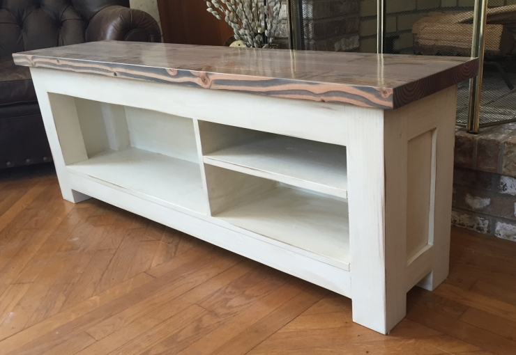 distressed grey and white storage bench-crop