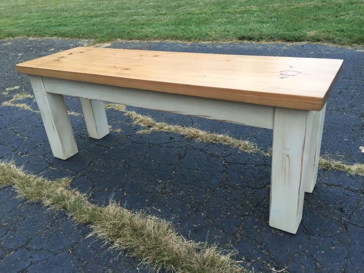 Farmhouse Furniture Bench distressed white milk paint