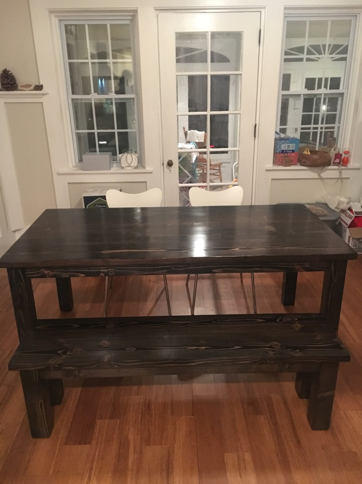 All black kitchen table and bench