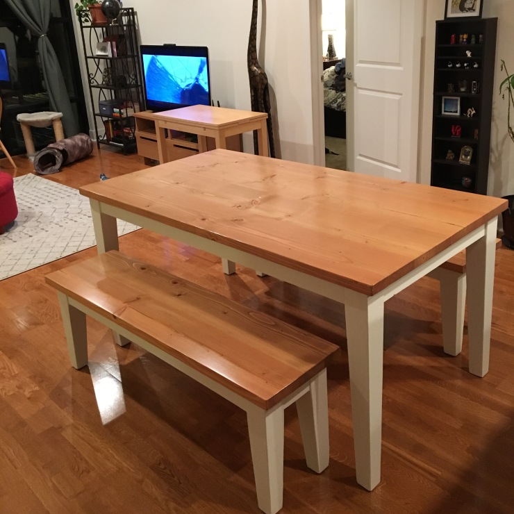 handmade farmhouse table with tapered legs fruitwood stain