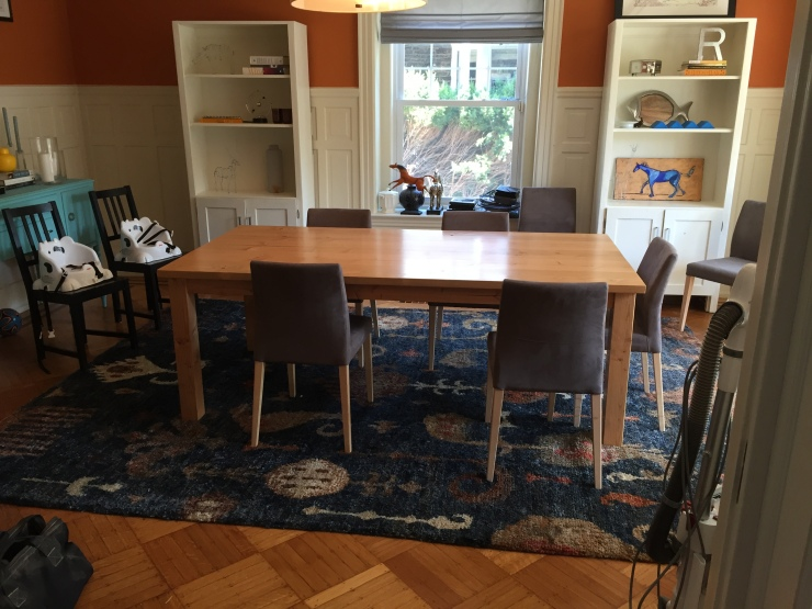 Handmade wood table in a Historic Home in Elkins Park Pennsylvania