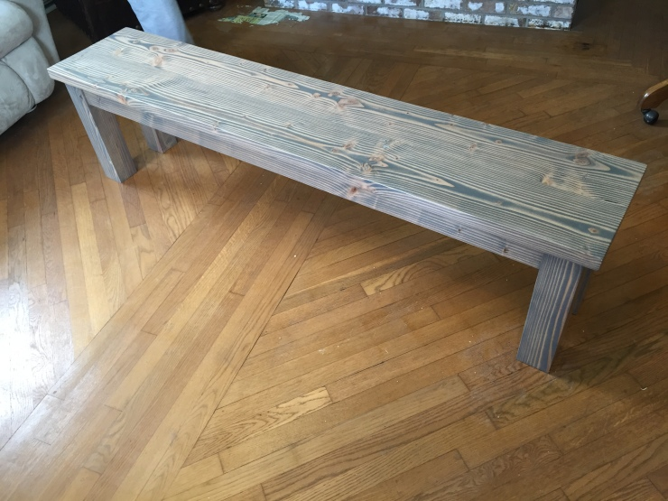 grey wood dining room bench