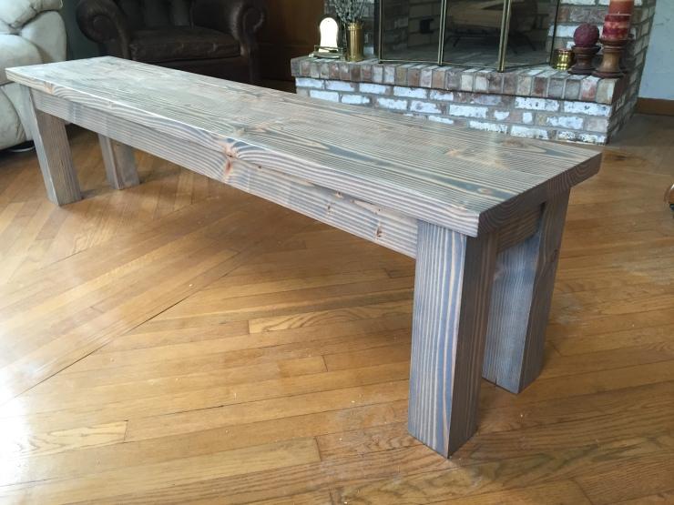 grey wood dining bench