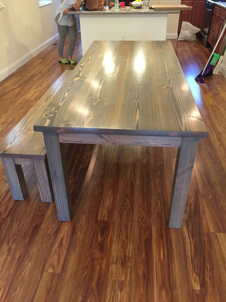rustic grey wood table and bench