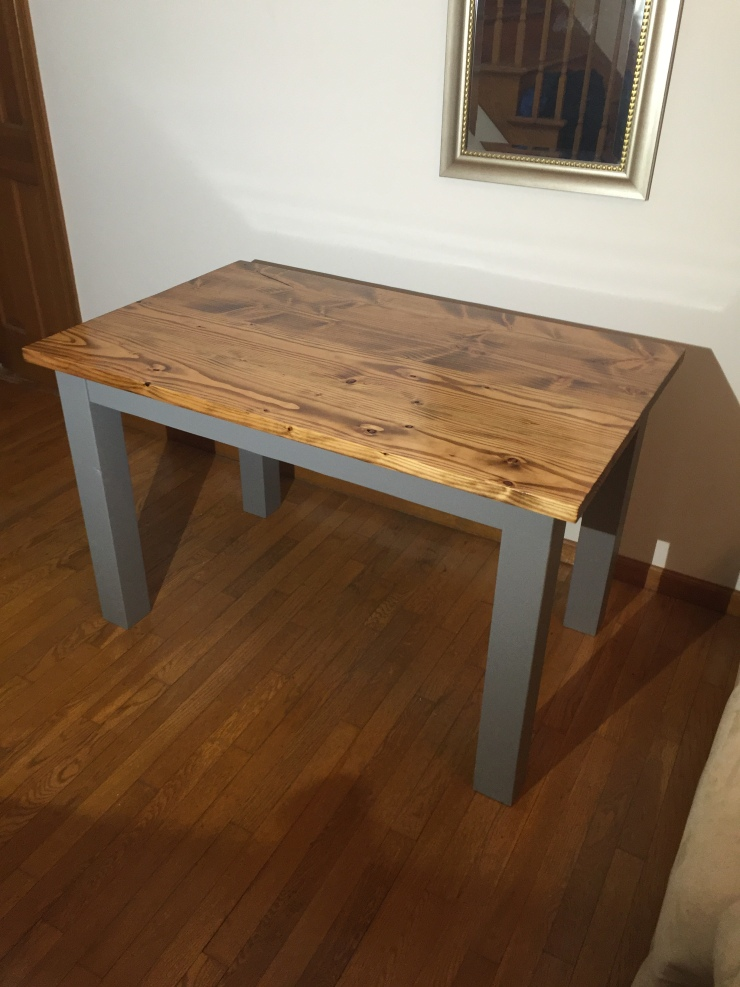 Small Rustic Wood Table Minwax Early American Stain Benjamin Moore Lamblack Paint