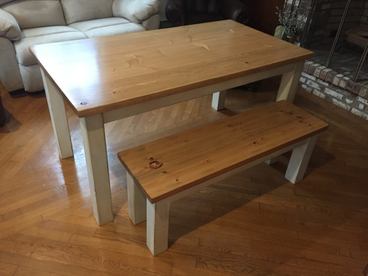 lightly distressed rustic kitchen table and bench