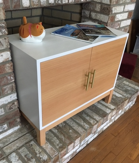 low media console white lacquer and CVG Douglas Fir