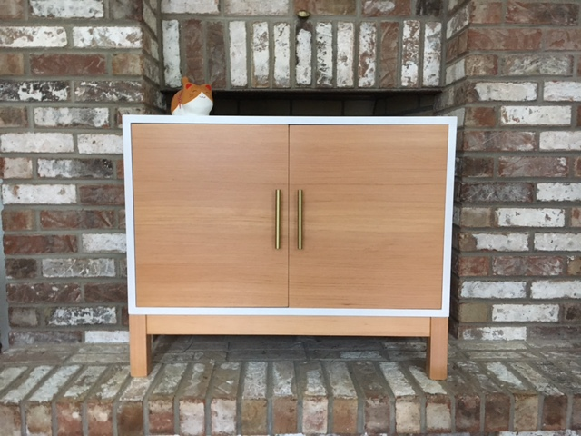 modern record cabinet, white lacquer , gold handles