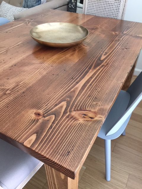 Handmade Rustic Wood table in a downtown Brooklyn Apartment