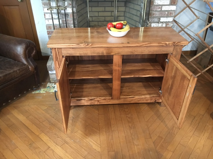 Sideboard or buffet made from CVG Douglas Fir with open doors