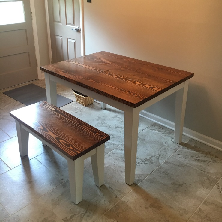 farmhouse kitchen table and bench with tapered legs Woodbury NJ