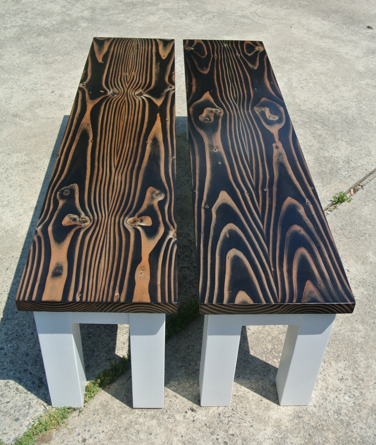 farmhouse dining benches with bookmatched wood tops