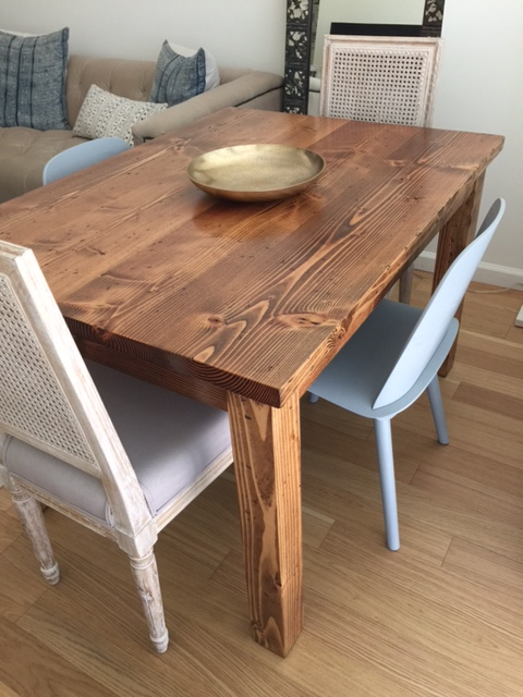 Early American stain on a farmhouse table in downtown Brooklyn